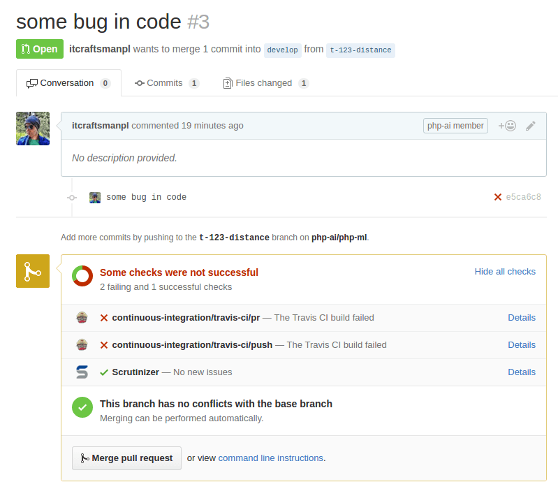 pull request build fail